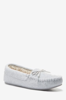 Grey Moccasin Slippers