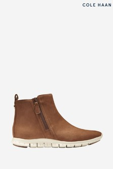 Cole Haan Brown Zerogrand Side Zip Ankle Boots