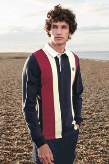 Navy/Red Vertical Block Rugby Shirt