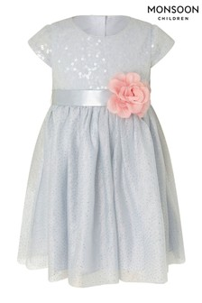 Monsoon Baby Sequin Flower Corsage Dress