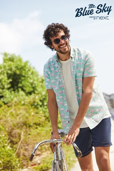 Mint Flamingo Button Down Mr Blue Sky Organic Cotton Print Shirt