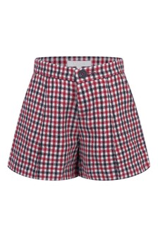 Girls Red/Navy Check Shorts