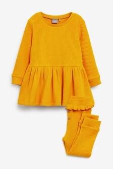 Ochre Long Sleeve Knitted Peplum Jogger Set (3mths-7yrs)