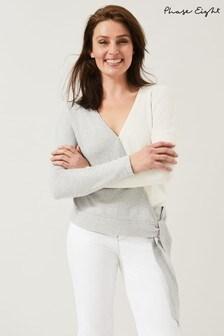 Phase Eight Grey Maliah Colourblock Knit Top