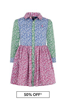Ralph Lauren Kids Girls Pink Floral Cotton Shirt Dress