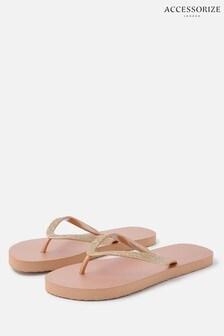 Accessorize Nude Glitter Flip Flops