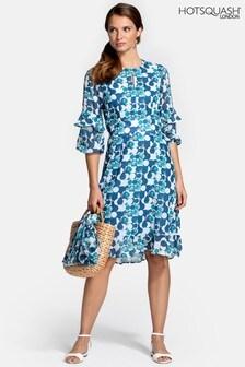 Hot Squash Blue Print Chiffon Dress