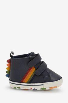 Navy Rainbow Pram Two Strap Boots (0-24mths)