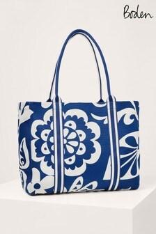 Boden Blue Olivia Large Canvas Tote Bag