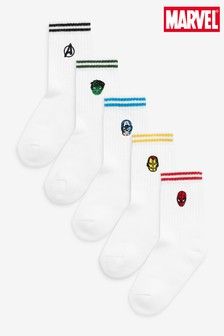 White 5 Pack Avengers Cushioned Cotton Rich Sports Socks