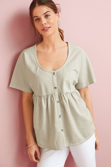 Sage Nursing Button Through Cotton Twill Blouse