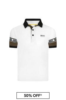 BOSS Boys White Cotton Poloshirt