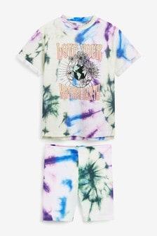 Tie Dye T-Shirt And Cycle Shorts Set (3-16yrs)