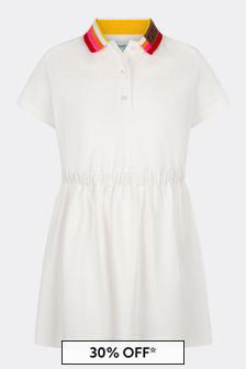 فستان قطن أبيض بناتي