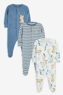 Pale Blue 3 Pack Bear Sleepsuits (0mths-2yrs)