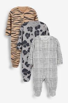 Animal Print 3 Pack Sleepsuits (0-2yrs)