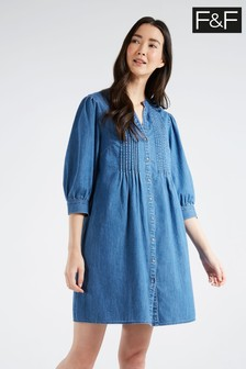 F&F Pintuck 3/4 Sleeve Denim Tunic