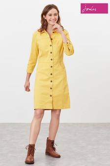 Joules Yellow Wilmer Denim Dress