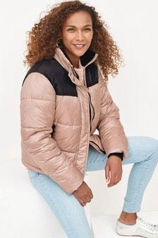 Pink Colourblock Puffer Coat