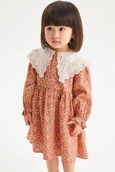 Ginger Ditsy Broderie Collar Dress (3mths-7yrs)