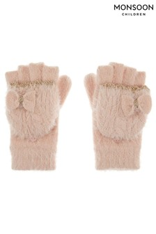 Monsoon Pink Poppy Fluffy Sparkle Capped Gloves