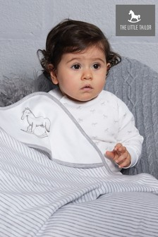 The Little Tailor White Rocking Horse Jersey Lined Blanket
