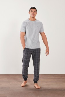 Grey Check Short Sleeved MotionFlex Cosy Cuffed Pyjama Set