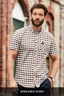 Ecru Slim Fit Check Stretch Oxford Short Sleeve Shirt