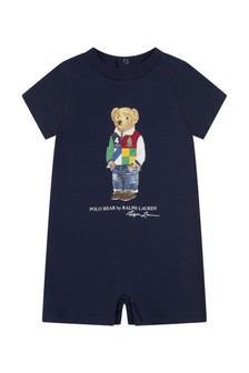 Baby Boys Navy Cotton Romper