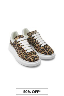 Girls Animal Print 100% Leather Trainers