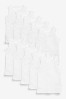 White 10 Pack Vests (1.5-16yrs)