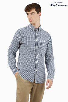 Ben Sherman Dark Blue Long Sleeve Signature Gingham Shirt