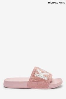 Michael Kors Pink Logo Sliders