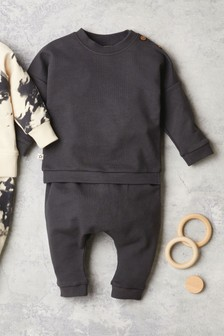 Charcoal GOTS Organic Sweatshirt And Joggers Set (0mths-2yrs)