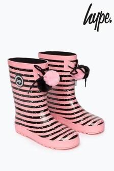 Hype. Black/Pink Stripe Kids Wellies