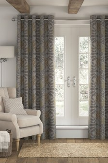 Contemporary Textured Leaf Eyelet Curtains