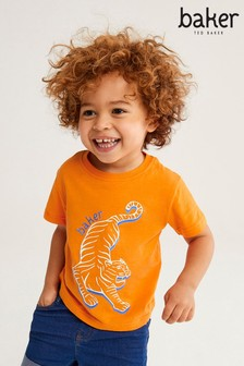 Baker by Ted Baker Boys Orange Tiger Placement T-Shirt
