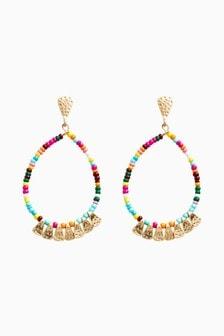 Multicolour Beaded Drop Hoop Earrings