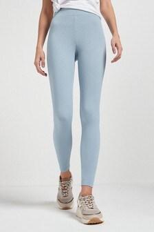 Blue Full Length Ribbed Leggings