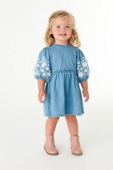 Mid Wash Embroidered Denim Dress (3mths-7yrs)