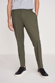 Green Slim Tapered Formal Joggers