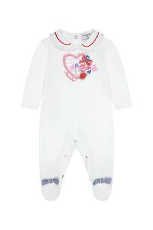 Monnalisa Baby Girls White Cotton Babygrow
