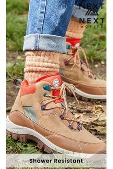 Tan Regular/Wide Fit Shower Resistant Walking Boots
