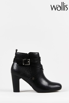 Wallis Amethyst Black Square Toe Buckle Boots