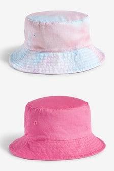 Pink/Tie Dye 2 Pack Bucket Hats (3mths-6yrs)