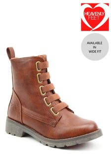 Heavenly Feet Brown Ladies Lace-Up Ankle Boots