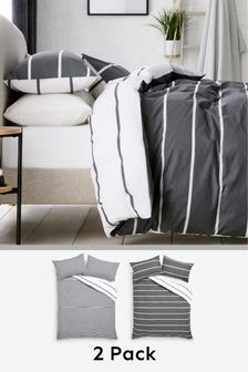 2 Pack Reversible Mono Stripe Duvet Cover and Pillowcase Set