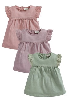 Multi 3 Pack Broderie Frill T-Shirts (0mths-3yrs)