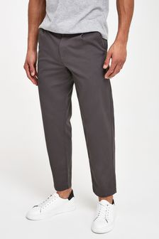 Dark Grey Relaxed Tapered Fit Stretch Chinos