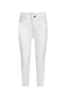Girls White Cotton Blend Jeans